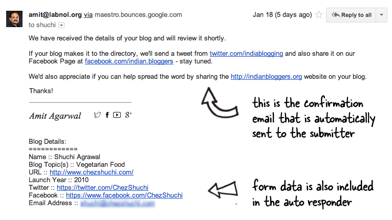 Auto response email message examples.